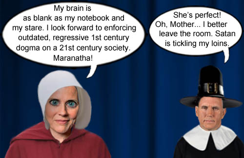 With a blank notebook, stare and brain, Supreme Court nominee and modern day handmaiden Amy Coney Barrett proudly announces her desire to implement outdated, regressive 1st century dogma on a 21st century society as Vice President and modern day Puritan Mike Pence becomes overstimulated.