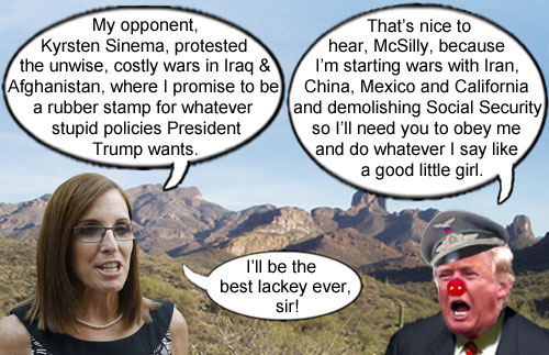 America's CEO/Dictator Donald Trump expresses gratitude that Martha McSally will be a good little lackey for whatever disastrous policy he wants like wars with Iran, China, Mexico and California and the complete demolishing of Social Security.