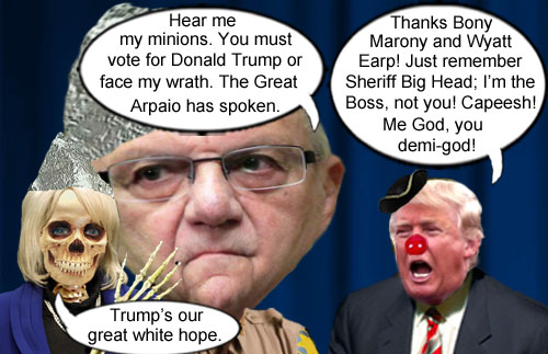 Arizona authoritarian demagogues, former Governor Jan 'Skeletor' Brewer and Maricopa County Sheriff Joe 'Just Call Me God' Arpaio announce their support for national, authoritarian demagogue Donald Trump for President, who clarifies who is the bigger God in true Donald Trump fashion.