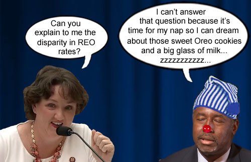 HUD Secretary and snoozing aficionado Ben Carson skillfully deflects questioning by congresswoman Katie Porter by proclaiming nap time so he can dream of those sweet, sweet Oreo cookies and a big glass of milk.