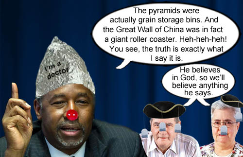 Dr. Ben Carson explains that the Pyramids were for storing grain and the Great Wall of China was a big roller coaster much to the delight of his evangelical Teabagger followers.
