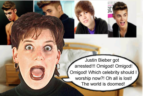 Which celebrity do we worship now that Justin Bieber has been arrested. Is it the end of the world.
