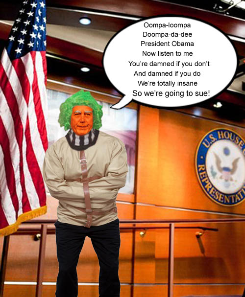 Chief Oompa Loompa, John Boehner, explains that President Obama is damned if he does and damned if he doesn't.