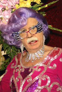 John Bolton with a Dame Edna makeover.