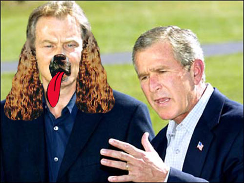 President Bush officially makes Tony 'Poopsie' Blair the new White House lapdog, replacing Spot, who died last month.