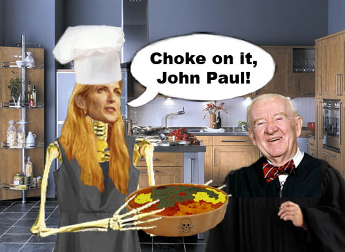 Neoconservative author and commentator Ann Coulter thoughtfully bakes up some creme brulee loaded with hemlock, arsenic and other tasty toxins for liberal Supreme Court Justice John Paul Stevens. She's just joking, of course.