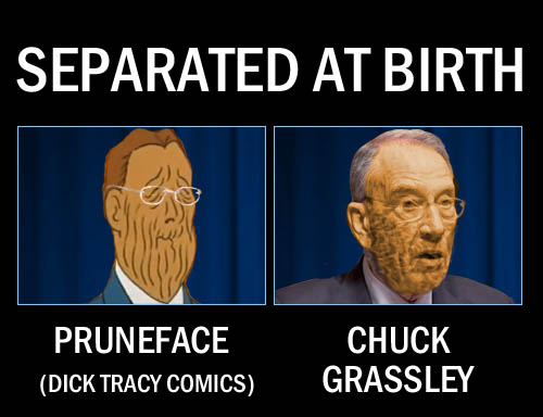 Hot from his curmudgeony performance at the Brett Kavanaugh hearings, Iowa senator and crusty ol' coot, Chuck Grassley, bears a striking resemblance to one of Dick Tracy's old nemeses, Pruneface.