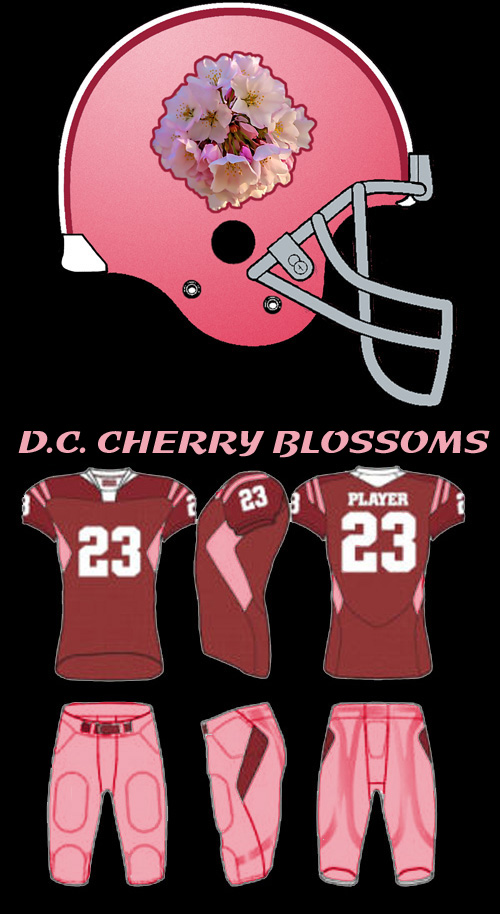 The football helmet and jerseys of the renamed Redskins, now called the D.C. Cherry Blossoms, complete with pink, creme and cherry red color scheme which will surely please all the macho manly man football fans in the Washington D.C. area.