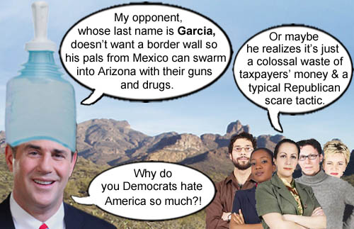 In a stunning display of political fearmongering, Arizona Governor Doug Ducey (pronounced douchey), proclaims that his opponent, whose last name is suspiciously Garcia, will probably open up the border to all sorts of caravans carrying gun toting, drug dealing illegal immigrants.