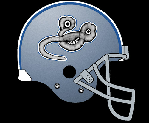 The Fightin' Ebolas of Elmo Hopkins Medical School football helmet