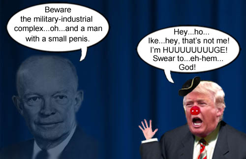 GOP frontrunner, Donald Trump, assures the ghost of Ike that despite having small hands, his penis is huge.