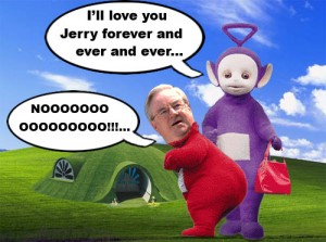 The Reverend Jerry Falwell gets to spend eternity with his old pal from the teletubbies, Tinky Winky.
