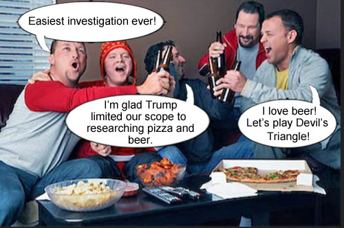 Since the scope of the FBI investigation is limited to pizza and beer by Donald Trump, agents research the drinking game Devil's Triangle.
