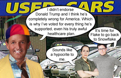 Dressed in his finest used car salesman ensemble, Arizona Senator Jeff Flake tries to sell people that he's against America's CEO/Dictator Donald Trump, when actually he has supported nearly everything he's done, to which Arizona voters call him on his hypocrisy and suggest he move back to his hometown of Snowflake, AZ.