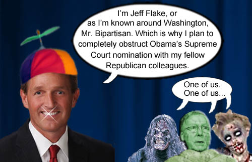 Arizona Senator Jeff Flake, a.k.a. Mr. Bipartisan, proudly announces that he will join his Republican zombie cohorts, led by Mitch 'The Turtle' McConnell, to boldly obstruct President Obama's Supreme Court nomination for partisan reasons.