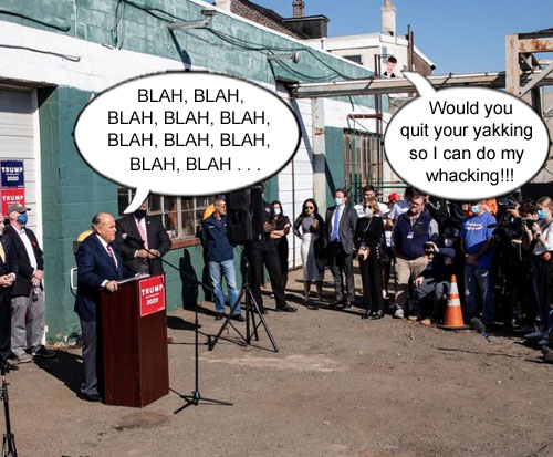 In a move which perfectly demonstrates the incompetence of the Trump administration, chief goombah Rudy Giuliani holds a press conference at Four Seasons Total Landscaping, conveniently located between a crematorium and an adult bookstore/theater, which brought about much perturbation from the clientele of the whack shack.