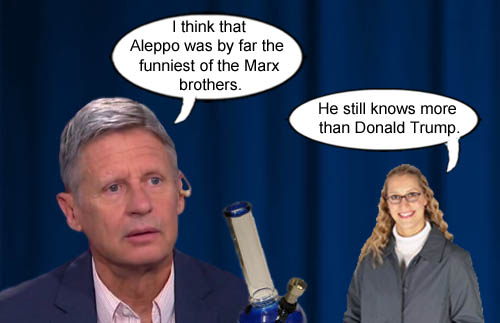 Libertarian presidential candidate, Gary 'Dude' Johnson' explains that Aleppo was the funniest of the Marx Brothers.