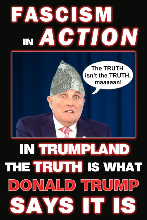 America's CEO/Dictator, Donald Trump's lawyer, Rudy Giuliani states boldly and clearly that the truth isn't the truth or that the truth is what Donald Trump says it is.
