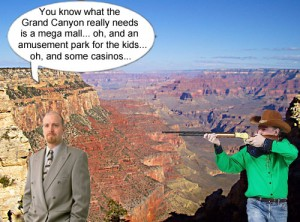 A noble, American hunter prepares to thin the herd of greedy, rapacious, land developers, who want to develop the Grand Canyon.