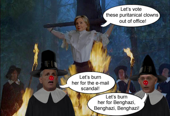 Puritanical clowns and GOP congressmen Kevin McCarthy and Trey Gowdy find a way to waste taxpayers money by conducting a political witch hunt on Hillary Clinton for Benghazi and her e-mail server.