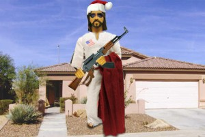 SKYMart Bargain - PatrioTrends Gun Toting Inflatible Jesus with AK-47 and flag lapel pin
