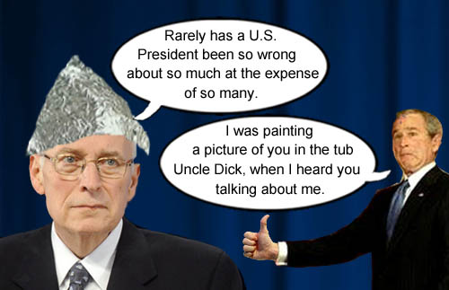 Dick Cheney talks about the worst President ever and George W. Bush shows up.