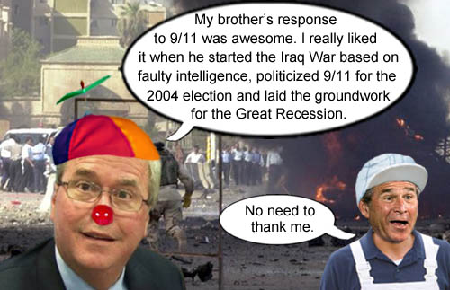 George Bush respoded to 9/11 by starting the Iraq War quagmire, politicizing 9/11 and causing the Great Recession.