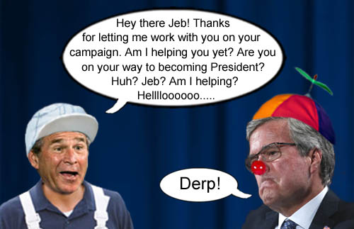 Jeb Bush bows out of the Republican presidential campaing with help from his brother Dubya.