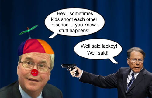 GOP Presidential candidate Jeb Bush, compassionately explains that 'stuff happens' while NRA executive vice president, Wayne LaPierre, gives him a big vote of approval.