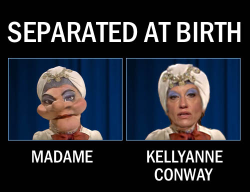 The Queen of Alternative Facts, Donald Trump's principal prevaricator puppet, Kellyanne Conway, bears a striking resemblance to Wayland Flower's beloved puppet from the 1970s, Madame.