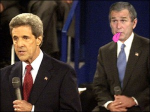 George Dubya Bush performs his patented stick his tongue out maneuver during debate with John Kerry