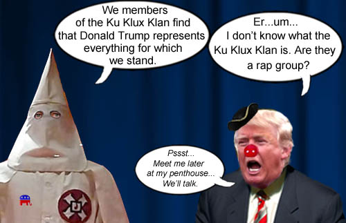 Master of the Con, Donald Trump masterfully denies knowledge of the KKK while inviting them to his penthouse.