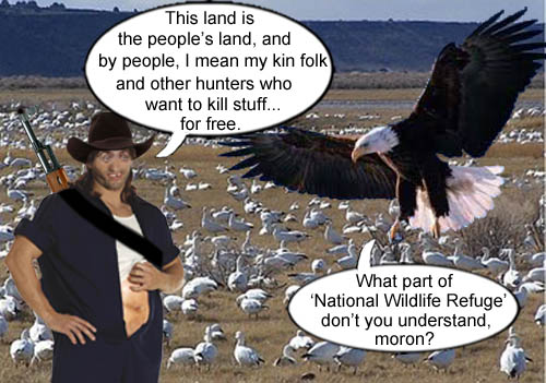 A member of the Y'all Queda armed domestic terrorist group that has taken over Malheur Wildlife Refuge in Oregon, explains his viewpoint to a bald eagle resident  who is not amused.