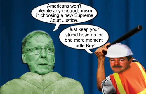 Mitch 'Mutant Turtle Boy' McConnell says Americans won't tolerate Democrats obstructionism despite doing the same thing to the Obama administration for the last eight years.