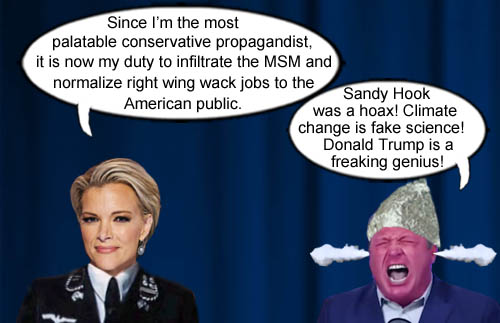Megyn Kelly's new task as most palatable conservative propagandist is to make right wing wackos like Alex Jones acceptable to the American public.