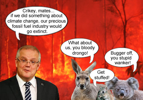 Australian Prime Minister Scott Morrison laments the possible extinction of the fossil fuel industry if climate change is addressed while a kangaroo, a koala and an endangered potoroo have a few choice words for the PM.