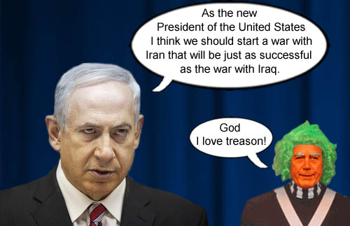 New United States President, Israeli Prime Minister Bibi Netanyahu suggests a war with Iran as successful as the Iraq War as treasonist John Boehner approves.