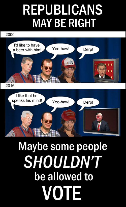 Given the choices Republicans have made over the last 20 years, maybe some people shouldn't be allowed to vote.