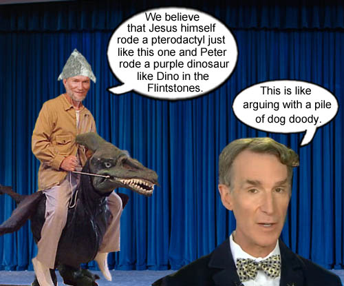 Ken Ham explains how Jesus rode a pterodactyl and Peter rode Dino to an incredulous Bill Nye.