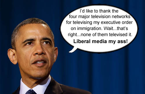 President Obama takes time to thank the 'liberal' media for their generous coverage of his important immigration executive order back in November 2014.