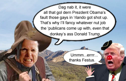 Senator and crusty old coot, John McCain, blames Obama for the Orlando shooting and promptly endorses Donald Trump for President.
