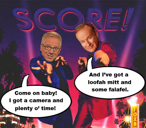 "Conservative Super Studs, Glenn Beck and Bill O'Reilly, have announced that they're going to make a new movie called A Night at the Foxbury, which is based on their wild, crazy, escapades wooing the opposite sex. This on the heels of Glenn Beck's recent incident where, while discussing the topic of the naked American Idol photos, he made the following suggestive comment to USA Today's Dina Sansing on CNN's Headline News: ""Dina, I've got some time and a camera. Why don't you stop by?"" But just like Ann Coulter, Beck was just joking, of course."