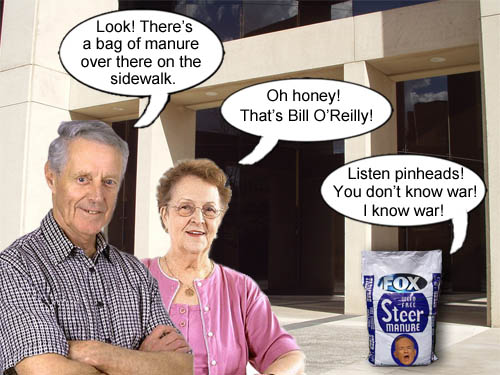 A couple mistakes bloviating Fox News host Bill O'Reilly for a lying sack of manure.