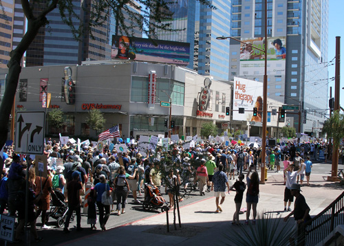 A small section of the marchers in the Phoenix March for Science on Earth Day, April 22, 2017 in downtown Phoenix, Arizona. BilgeBucket Gazette staff member, Chester Einstein, is the one in the hat carrying a sign.