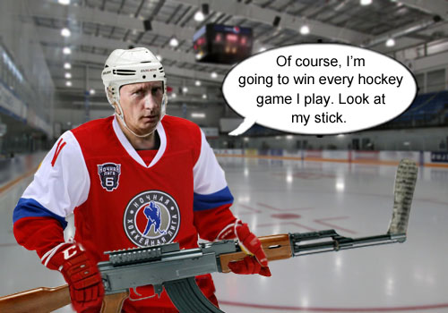 Authoritarian Russian President Vladimir Putin reveals his secret for mastering his opponents in hockey - his customized AK-47 hockey stick.