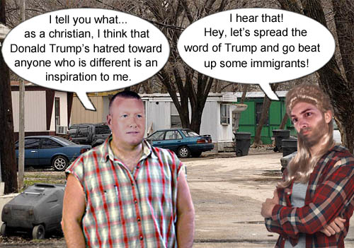 Some red state Republican voters discuss how truly christlike Donald Trump is and ponder forcefully spreading his word to some unsuspecting immigrants.