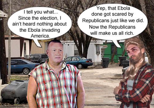 Rednecks discuss how Republicans scared away the Ebola virus and will now make everyone rich.