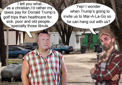 Some members of the redneck intelligentsia discuss healthcare, golf and the possibility of hanging with their illustrious leader at his exclusive resort.