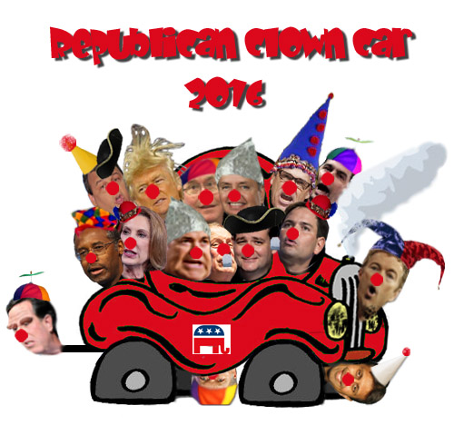 The Republican Clown Car for the 2016 Presidential election, also known as Con-a-thon 2016.