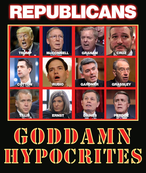 Here are some of the goddamn Republican hypocrites who in 2016 proclaimed loudly that the people voting in November should decide who should be on the Supreme Court but now in 2020 want to rush through a pick just days before the election.
